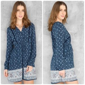 Anthropologie Alya Boho Indigo Paisley Dress NWOT
